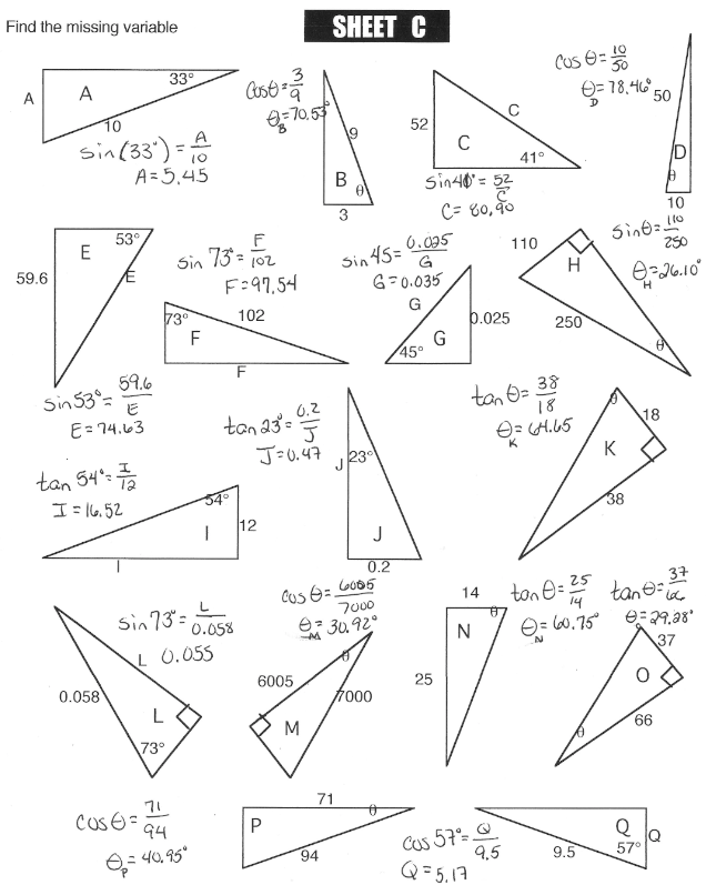 Printable Worksheets » Right Triangle Trig Worksheets ...